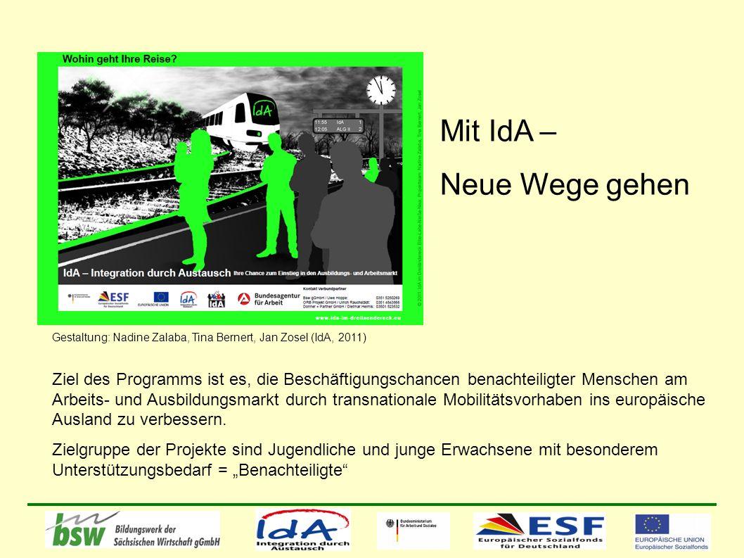 Mit IdA – Neue Wege gehen Gestaltung: Nadine Zalaba, Tina Bernert, Jan Zosel (IdA, 2011) Ziel des Programms ist es, die Beschäftigungschancen benachteiligter Menschen am Arbeits- und Ausbildungsmarkt durch transnationale Mobilitätsvorhaben ins europäische Ausland zu verbessern.