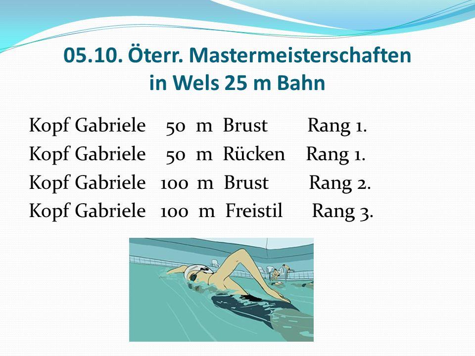 05.10. Öterr. Mastermeisterschaften in Wels 25 m Bahn Kopf Gabriele 50 m Brust Rang 1.