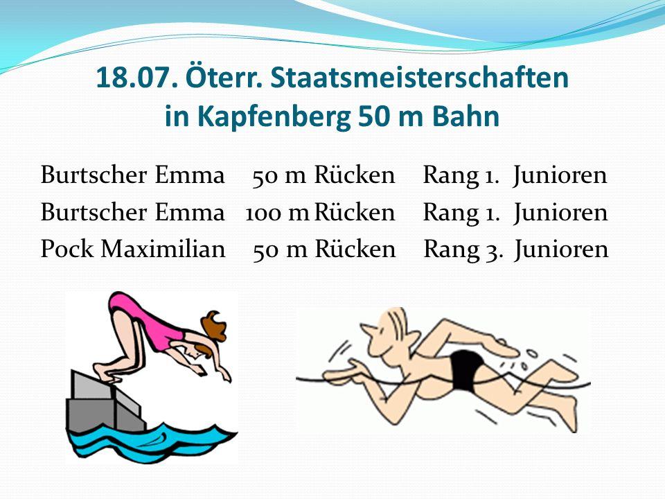 18.07. Öterr. Staatsmeisterschaften in Kapfenberg 50 m Bahn Burtscher Emma 50 m Rücken Rang 1.