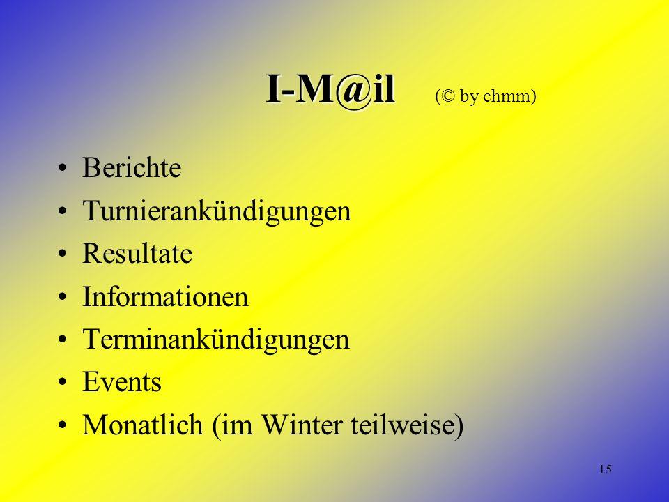 15 I-M@il I-M@il (© by chmm) Berichte Turnierankündigungen Resultate Informationen Terminankündigungen Events Monatlich (im Winter teilweise)