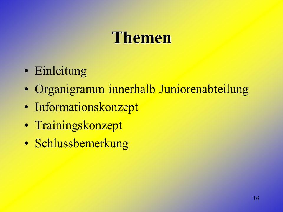 16 Themen Einleitung Organigramm innerhalb Juniorenabteilung Informationskonzept Trainingskonzept Schlussbemerkung