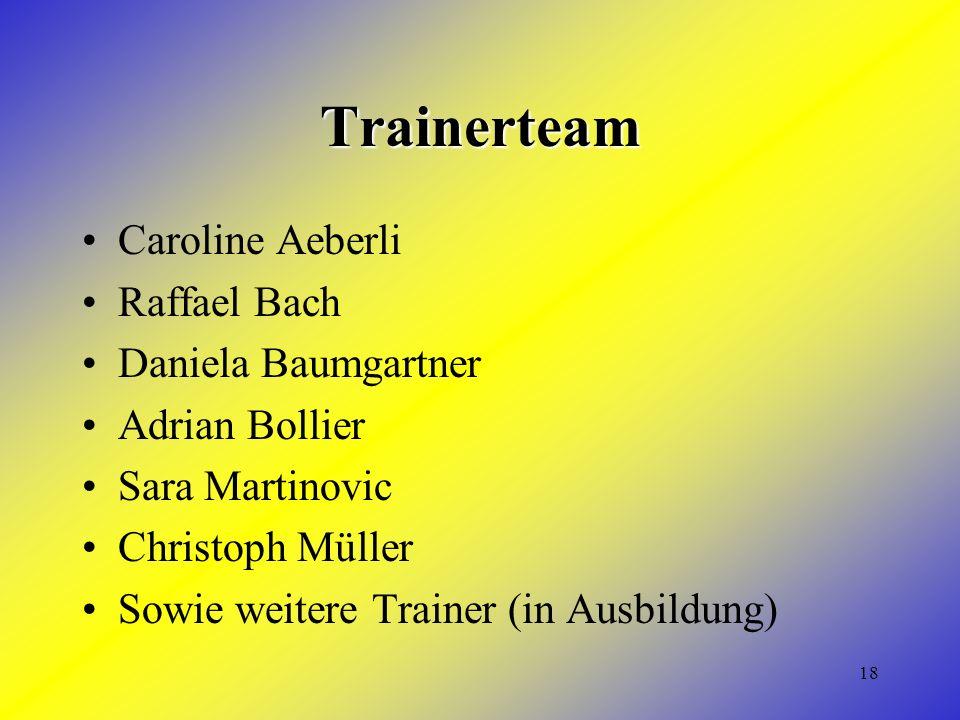 18 Trainerteam Caroline Aeberli Raffael Bach Daniela Baumgartner Adrian Bollier Sara Martinovic Christoph Müller Sowie weitere Trainer (in Ausbildung)
