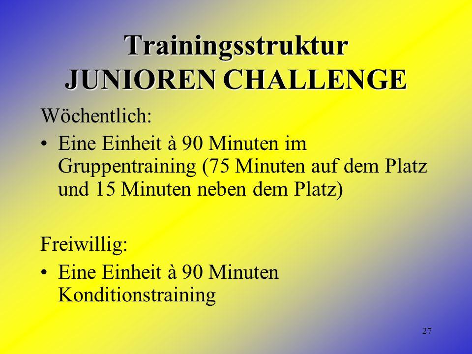 27 Trainingsstruktur JUNIOREN CHALLENGE Wöchentlich: Eine Einheit à 90 Minuten im Gruppentraining (75 Minuten auf dem Platz und 15 Minuten neben dem Platz) Freiwillig: Eine Einheit à 90 Minuten Konditionstraining