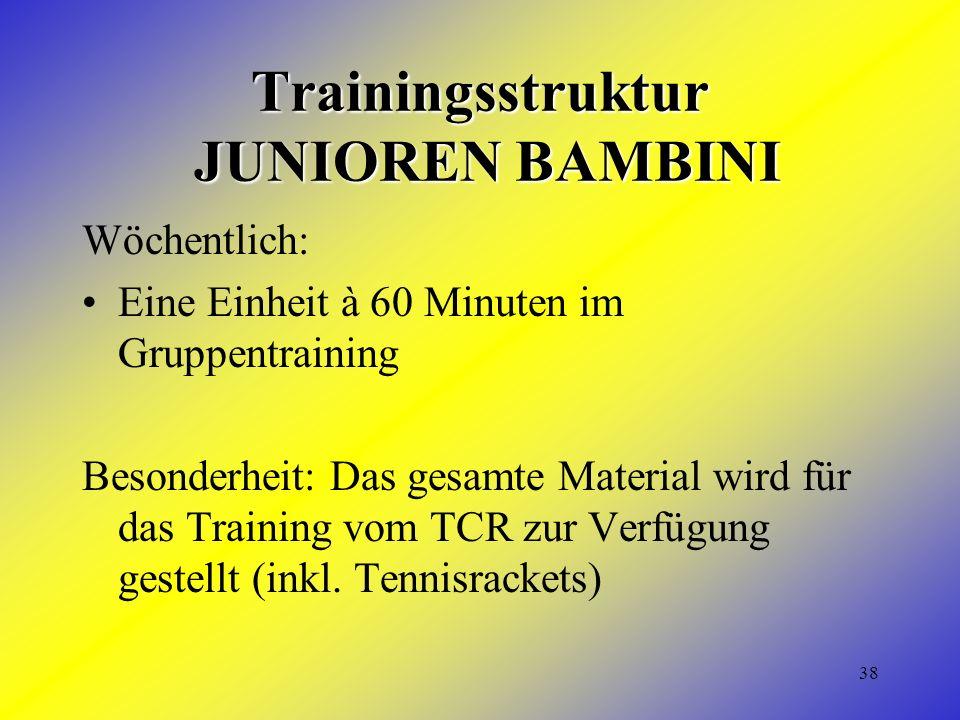 38 Trainingsstruktur JUNIOREN BAMBINI Wöchentlich: Eine Einheit à 60 Minuten im Gruppentraining Besonderheit: Das gesamte Material wird für das Training vom TCR zur Verfügung gestellt (inkl.