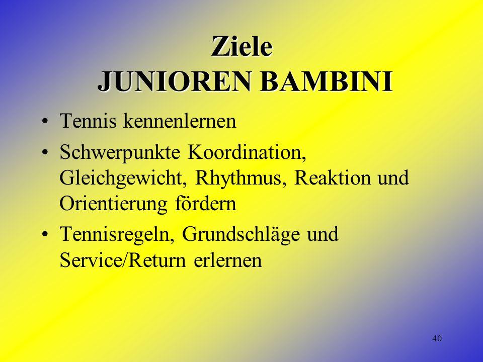 40 Ziele JUNIOREN BAMBINI Tennis kennenlernen Schwerpunkte Koordination, Gleichgewicht, Rhythmus, Reaktion und Orientierung fördern Tennisregeln, Grundschläge und Service/Return erlernen