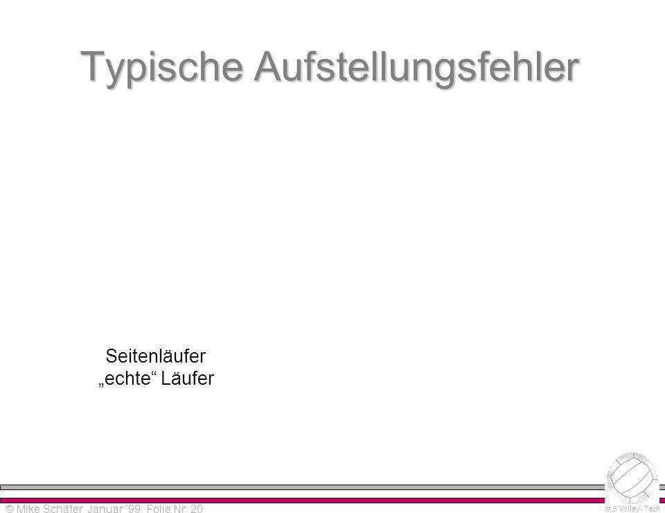 Alpha-Version 0.0 Please read distribution notes! © Mike Schäfer MS Volley-Tech © Mike Schäfer, Januar ´99, Folie Nr. 20 Typische Aufstellungsfehler S