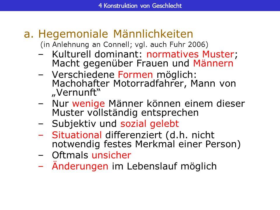 4 Konstruktion von Geschlecht a. Hegemoniale Männlichkeiten (in Anlehnung an Connell; vgl. auch Fuhr 2006) –Kulturell dominant: normatives Muster; Mac