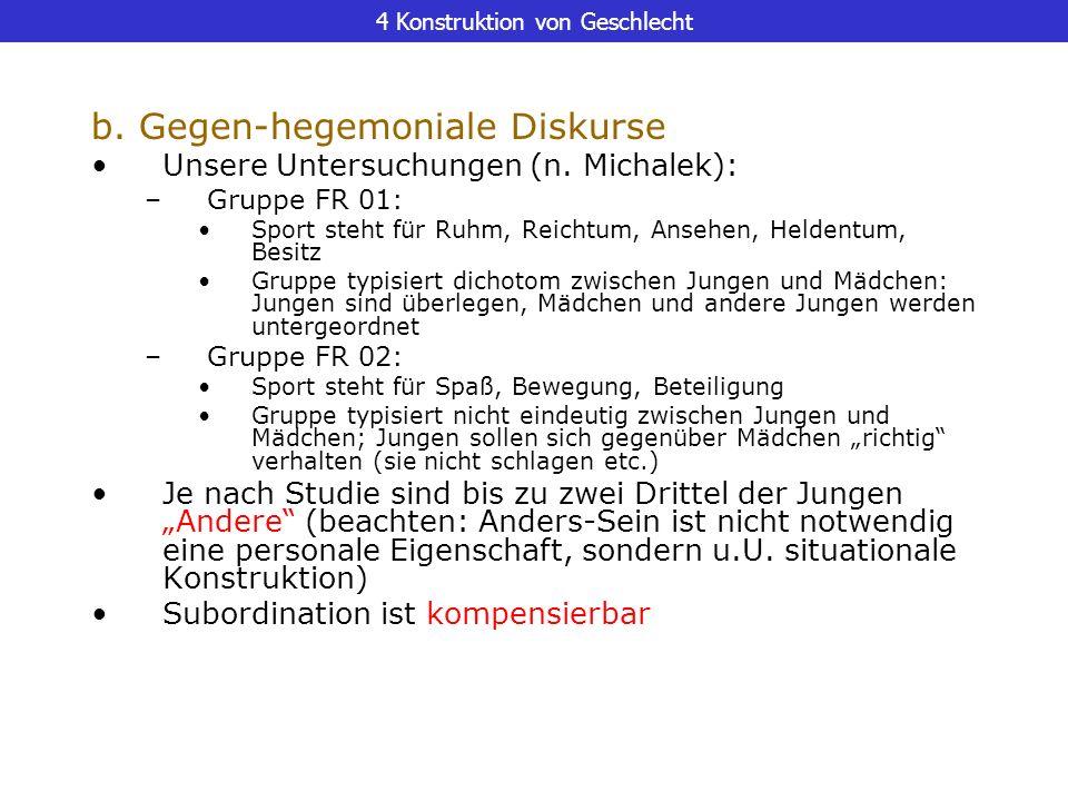 4 Konstruktion von Geschlecht b. Gegen-hegemoniale Diskurse Unsere Untersuchungen (n. Michalek): –Gruppe FR 01: Sport steht für Ruhm, Reichtum, Ansehe