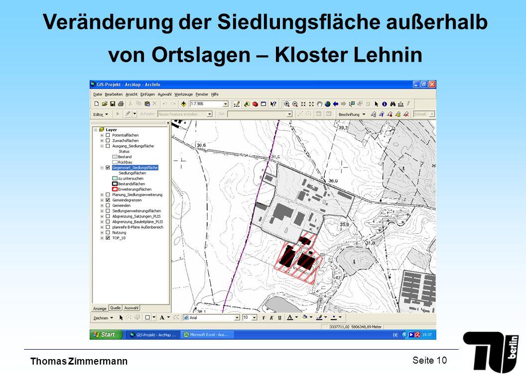 Thomas Zimmermann Seite 10 Veränderung der Siedlungsfläche außerhalb von Ortslagen – Kloster Lehnin