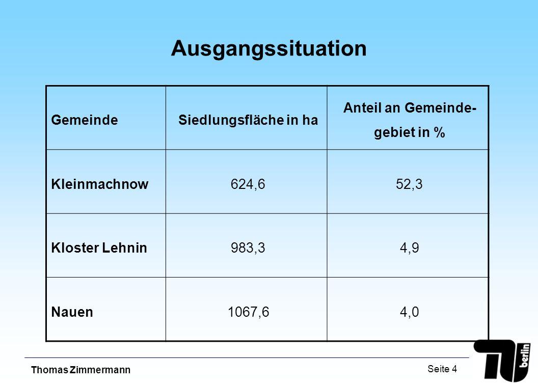 Thomas Zimmermann Seite 4 Ausgangssituation GemeindeSiedlungsfläche in ha Anteil an Gemeinde- gebiet in % Kleinmachnow624,652,3 Kloster Lehnin983,34,9 Nauen1067,64,0