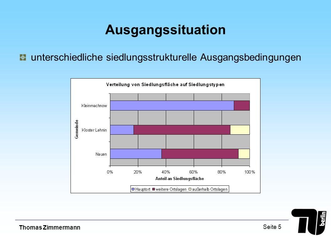 Thomas Zimmermann Seite 5 Ausgangssituation unterschiedliche siedlungsstrukturelle Ausgangsbedingungen