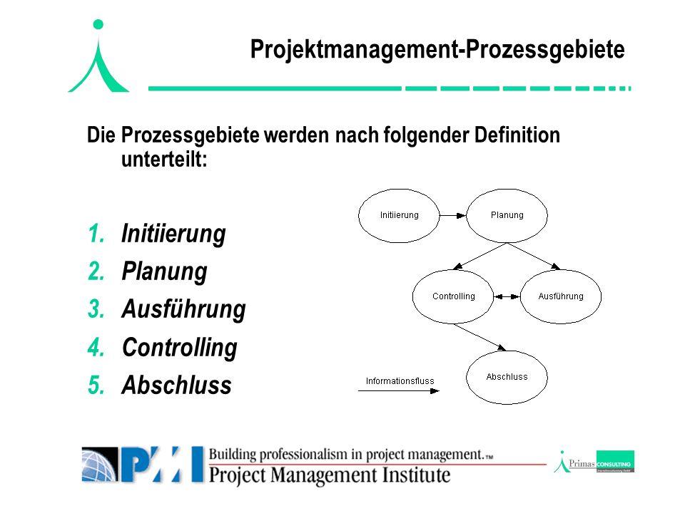Projektmanagement-Prozessgebiete Die Prozessgebiete werden nach folgender Definition unterteilt: 1.Initiierung 2.Planung 3.Ausführung 4.Controlling 5.
