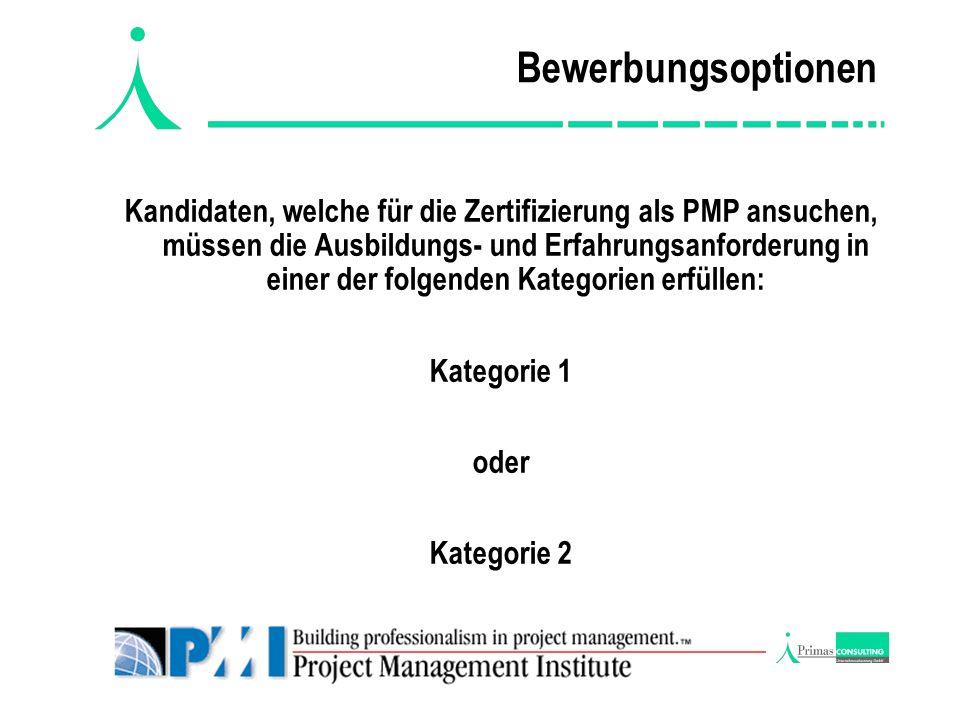 Prüfungsbewerbung Die Anmeldung zum PMP Zertifizierungstest, die im Zertifizierungshandbuch zu finden ist, erhalten Sie auf den Webseiten von PMI unter: www.pmi.org bzw.