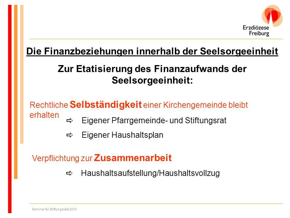 Die Finanzbeziehungen innerhalb der Seelsorgeeinheit Zur Etatisierung des Finanzaufwands der Seelsorgeeinheit: Rechtliche Selbständigkeit einer Kirche