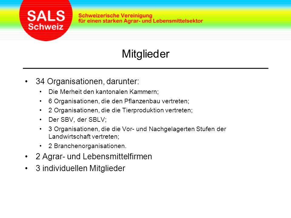 Mitglieder 34 Organisationen, darunter: Die Merheit den kantonalen Kammern; 6 Organisationen, die den Pflanzenbau vertreten; 2 Organisationen, die die Tierproduktion vertreten; Der SBV, der SBLV; 3 Organisationen, die die Vor- und Nachgelagerten Stufen der Landwirtschaft vertreten; 2 Branchenorganisationen.
