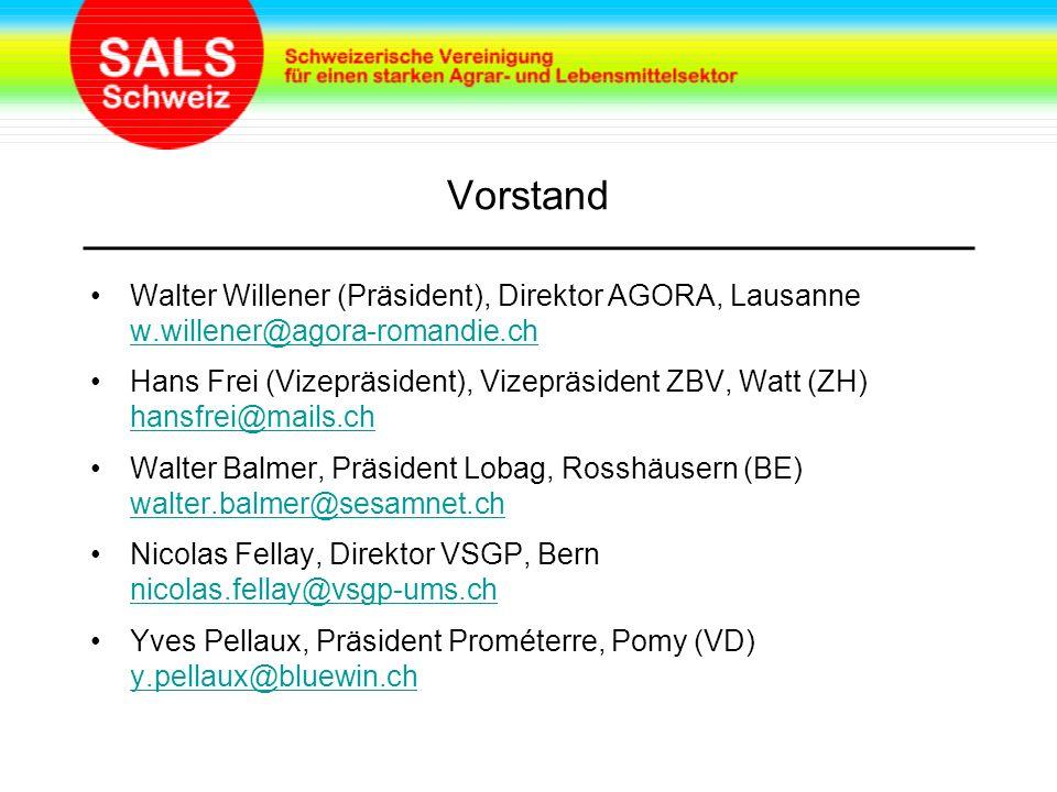 Vorstand Walter Willener (Präsident), Direktor AGORA, Lausanne w.willener@agora-romandie.ch w.willener@agora-romandie.ch Hans Frei (Vizepräsident), Vizepräsident ZBV, Watt (ZH) hansfrei@mails.ch hansfrei@mails.ch Walter Balmer, Präsident Lobag, Rosshäusern (BE) walter.balmer@sesamnet.ch walter.balmer@sesamnet.ch Nicolas Fellay, Direktor VSGP, Bern nicolas.fellay@vsgp-ums.ch nicolas.fellay@vsgp-ums.ch Yves Pellaux, Präsident Prométerre, Pomy (VD) y.pellaux@bluewin.ch y.pellaux@bluewin.ch