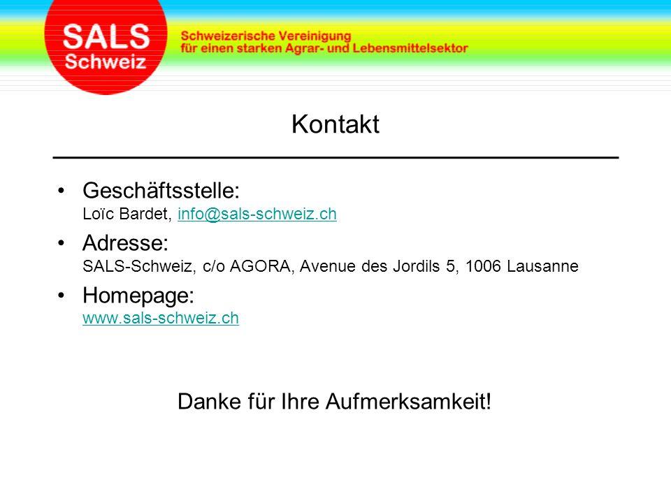 Kontakt Geschäftsstelle: Loïc Bardet, info@sals-schweiz.chinfo@sals-schweiz.ch Adresse: SALS-Schweiz, c/o AGORA, Avenue des Jordils 5, 1006 Lausanne Homepage: www.sals-schweiz.ch www.sals-schweiz.ch Danke für Ihre Aufmerksamkeit!