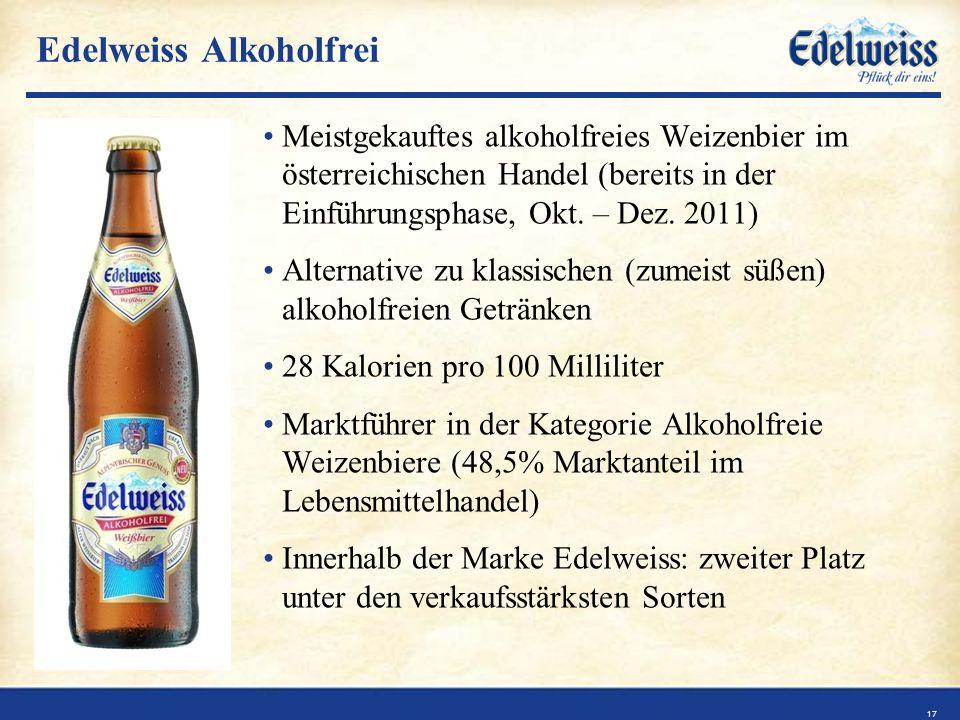 Edelweiss Alkoholfrei Meistgekauftes alkoholfreies Weizenbier im österreichischen Handel (bereits in der Einführungsphase, Okt.