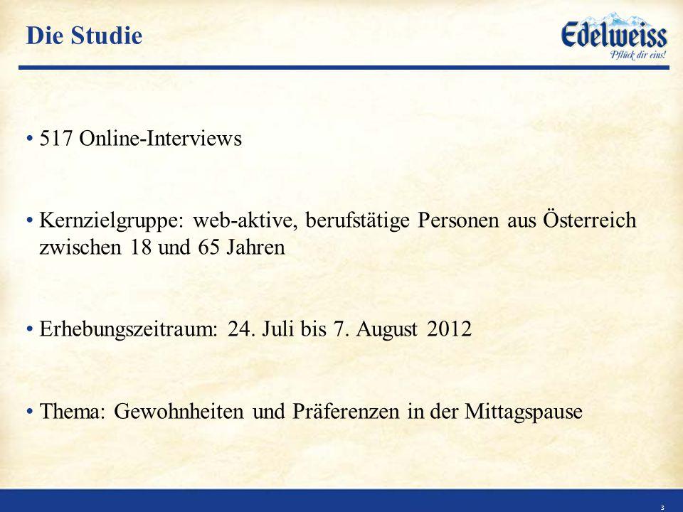 Die Studie 517 Online-Interviews Kernzielgruppe: web-aktive, berufstätige Personen aus Österreich zwischen 18 und 65 Jahren Erhebungszeitraum: 24.