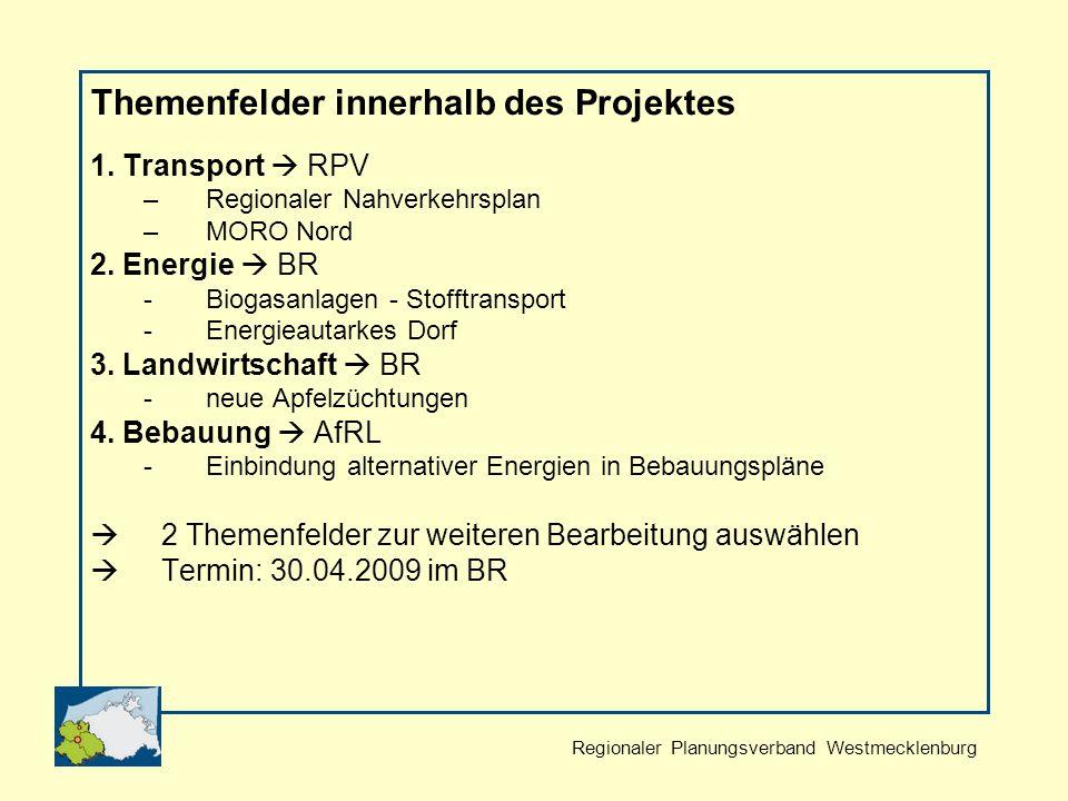 Regionaler Planungsverband Westmecklenburg Themenfelder innerhalb des Projektes 1.