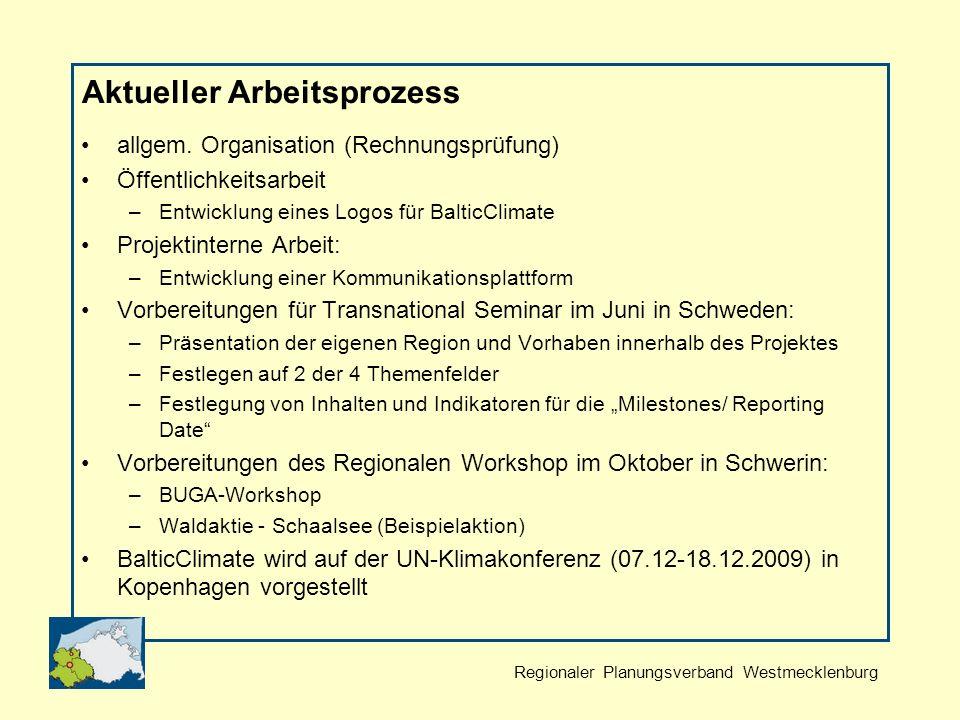 Regionaler Planungsverband Westmecklenburg Aktueller Arbeitsprozess allgem.