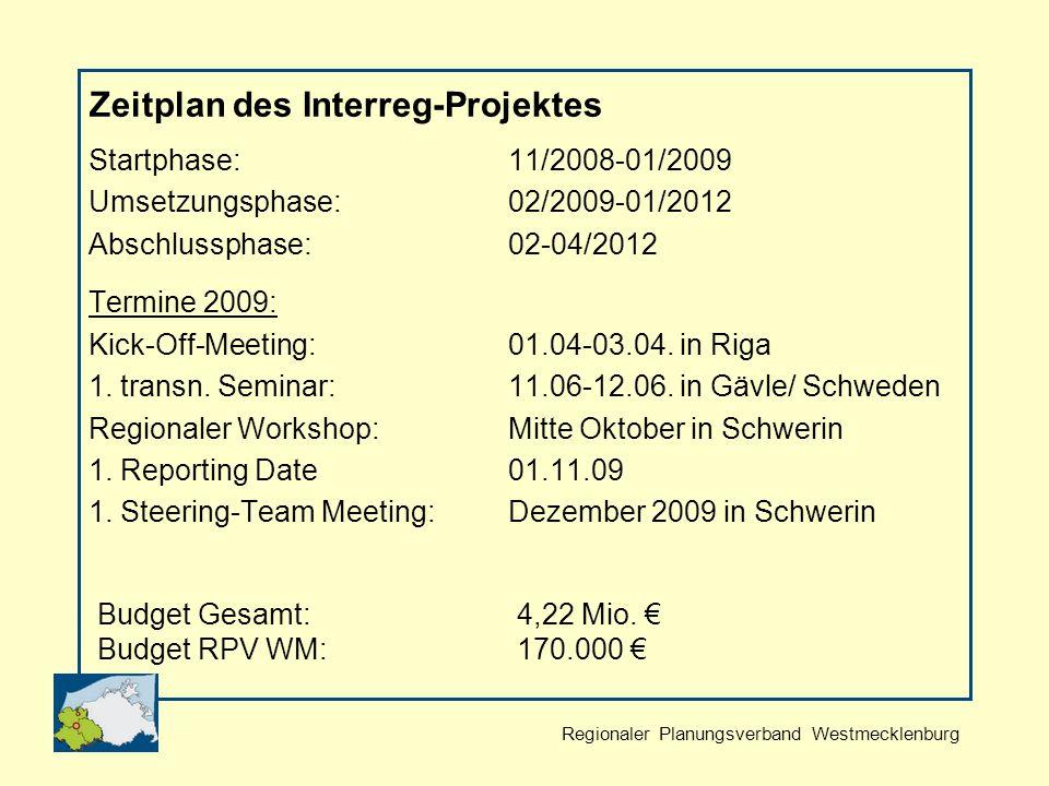 Regionaler Planungsverband Westmecklenburg Zeitplan des Interreg-Projektes Startphase:11/2008-01/2009 Umsetzungsphase:02/2009-01/2012 Abschlussphase:02-04/2012 Termine 2009: Kick-Off-Meeting: 01.04-03.04.
