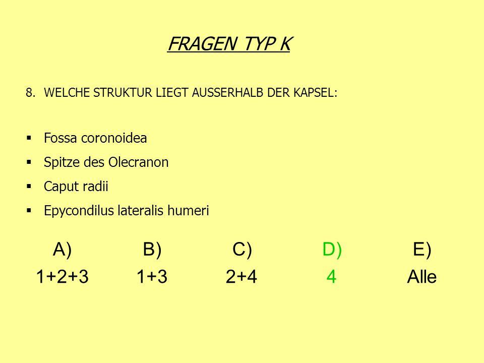 FRAGEN TYP K 8.WELCHE STRUKTUR LIEGT AUSSERHALB DER KAPSEL: Fossa coronoidea Spitze des Olecranon Caput radii Epycondilus lateralis humeri A)B)C)D)E)