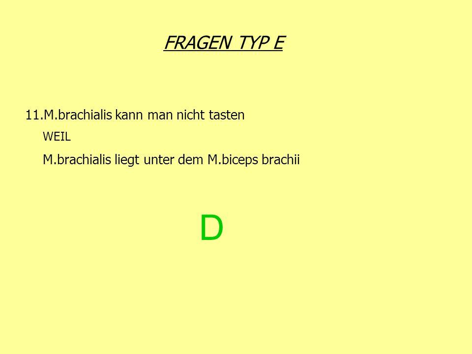 FRAGEN TYP E D 11.M.brachialis kann man nicht tasten WEIL M.brachialis liegt unter dem M.biceps brachii