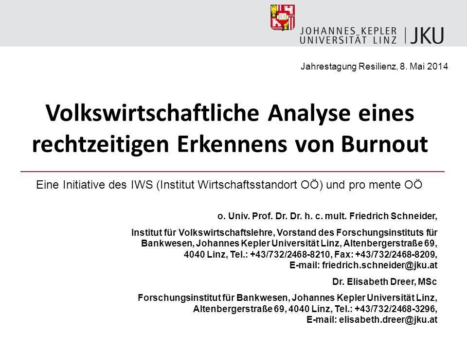 o. Univ. Prof. Dr. Dr. h. c. mult. Friedrich Schneider, Institut für Volkswirtschaftslehre, Vorstand des Forschungsinstituts für Bankwesen, Johannes K
