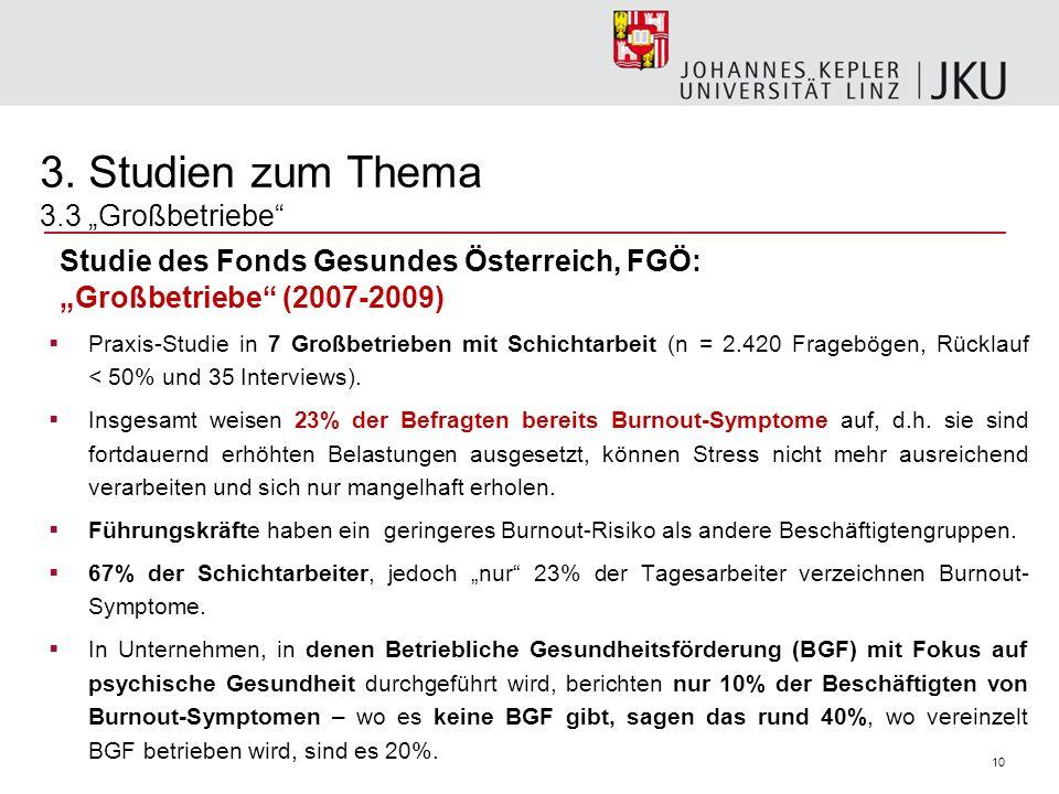 10 Studie des Fonds Gesundes Österreich, FGÖ: Großbetriebe (2007-2009) Praxis-Studie in 7 Großbetrieben mit Schichtarbeit (n = 2.420 Fragebögen, Rückl