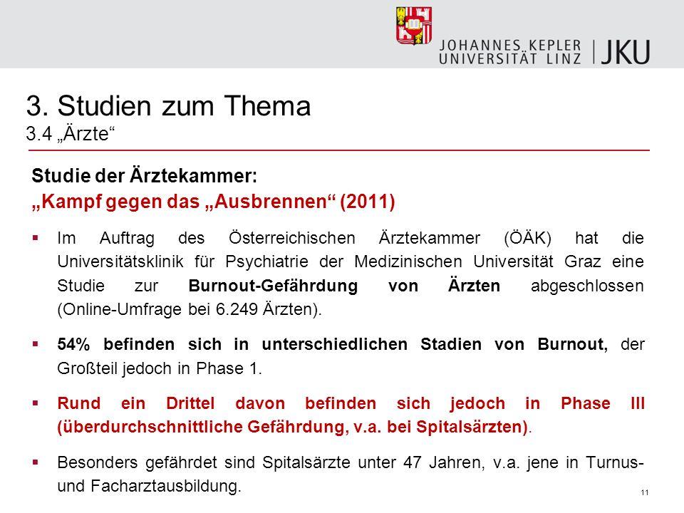 11 Studie der Ärztekammer: Kampf gegen das Ausbrennen (2011) Im Auftrag des Österreichischen Ärztekammer (ÖÄK) hat die Universitätsklinik für Psychiat