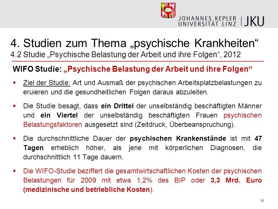 16 WIFO Studie: Psychische Belastung der Arbeit und ihre Folgen Ziel der Studie: Art und Ausmaß der psychischen Arbeitsplatzbelastungen zu eruieren un