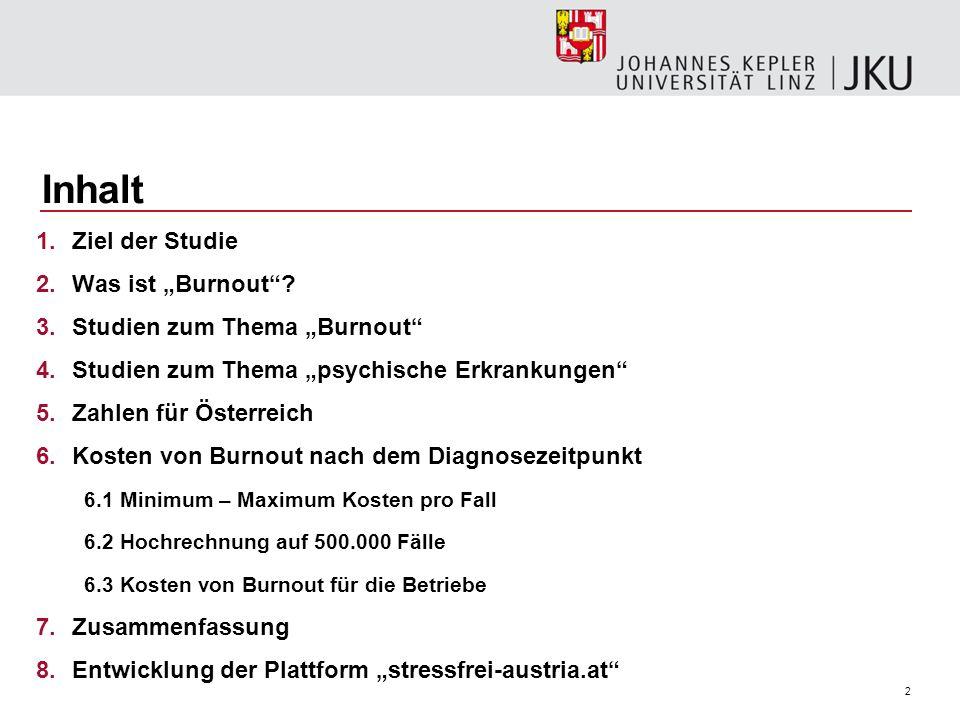 2 Inhalt 1.Ziel der Studie 2.Was ist Burnout? 3.Studien zum Thema Burnout 4.Studien zum Thema psychische Erkrankungen 5.Zahlen für Österreich 6.Kosten