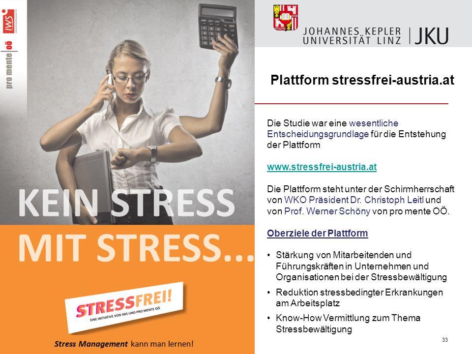 33 Die Studie war eine wesentliche Entscheidungsgrundlage für die Entstehung der Plattform www.stressfrei-austria.at Die Plattform steht unter der Sch