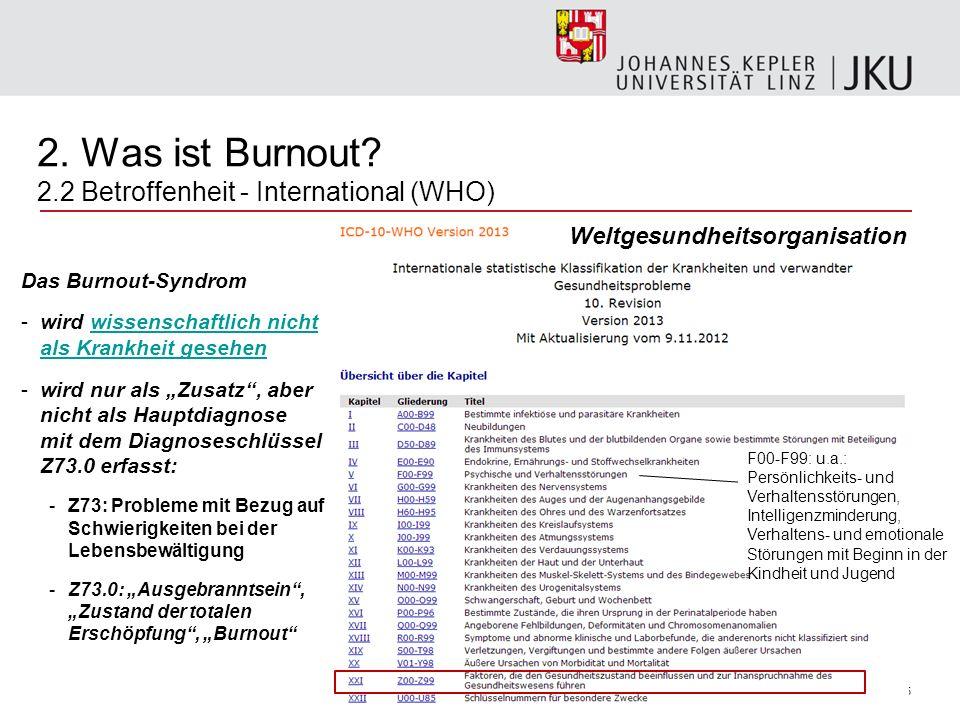 5 2. Was ist Burnout? 2.2 Betroffenheit - International (WHO) Das Burnout-Syndrom -wird wissenschaftlich nicht als Krankheit gesehenwissenschaftlich n