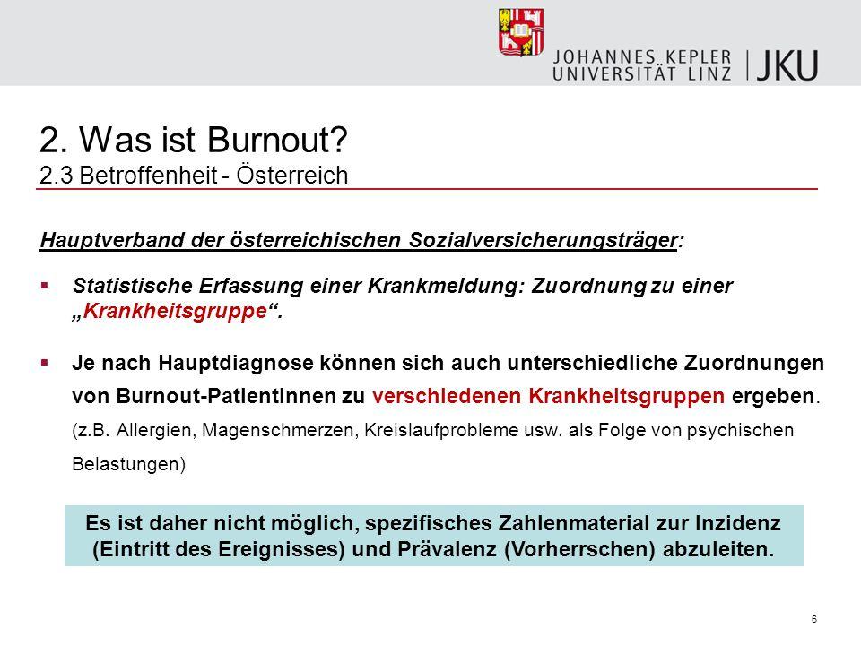 6 2. Was ist Burnout? 2.3 Betroffenheit - Österreich Hauptverband der österreichischen Sozialversicherungsträger: Statistische Erfassung einer Krankme