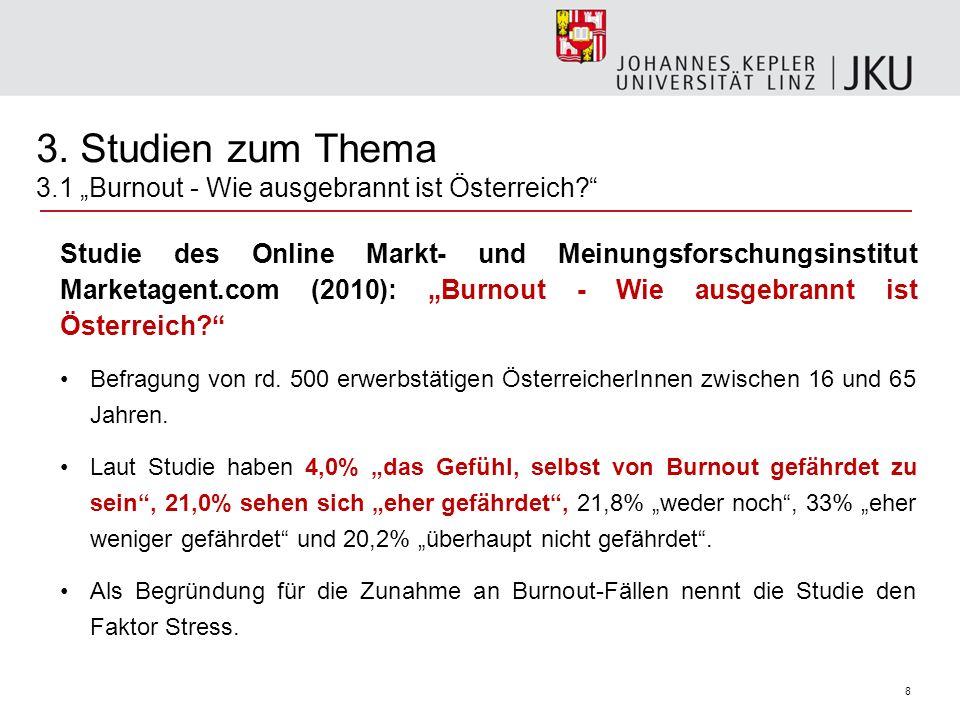 8 3. Studien zum Thema 3.1 Burnout - Wie ausgebrannt ist Österreich? Studie des Online Markt- und Meinungsforschungsinstitut Marketagent.com (2010): B