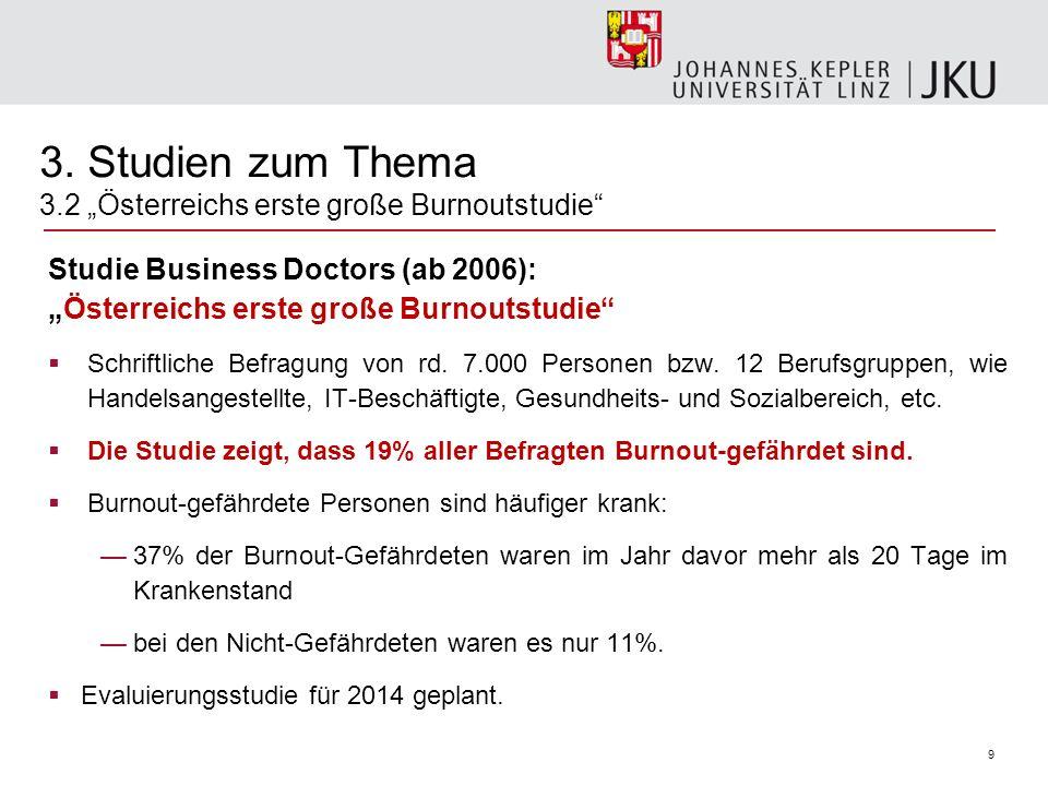 9 3. Studien zum Thema 3.2 Österreichs erste große Burnoutstudie Studie Business Doctors (ab 2006):Österreichs erste große Burnoutstudie Schriftliche