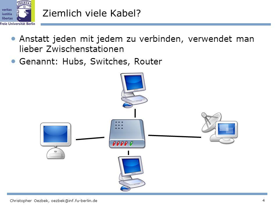 4 Christopher Oezbek, oezbek@inf.fu-berlin.de Ziemlich viele Kabel? Anstatt jeden mit jedem zu verbinden, verwendet man lieber Zwischenstationen Genan