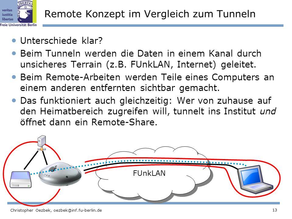 13 Christopher Oezbek, oezbek@inf.fu-berlin.de Remote Konzept im Vergleich zum Tunneln Unterschiede klar.