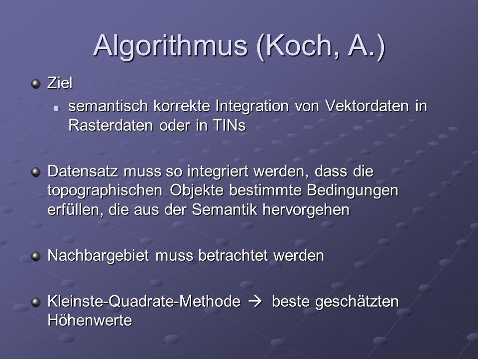 Algorithmus (Koch, A.) Ziel semantisch korrekte Integration von Vektordaten in Rasterdaten oder in TINs semantisch korrekte Integration von Vektordate