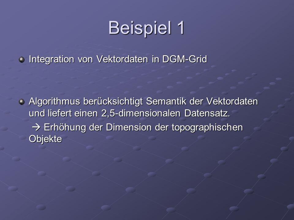 Beispiel 1 Integration von Vektordaten in DGM-Grid Algorithmus berücksichtigt Semantik der Vektordaten und liefert einen 2,5-dimensionalen Datensatz.
