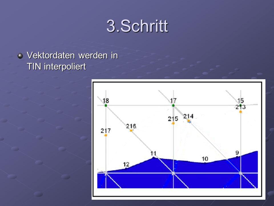 3.Schritt Vektordaten werden in TIN interpoliert