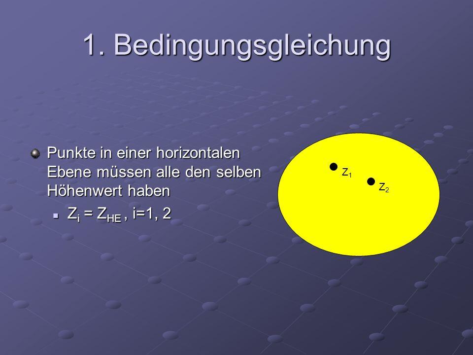 1. Bedingungsgleichung Punkte in einer horizontalen Ebene müssen alle den selben Höhenwert haben Z i = Z HE, i=1, 2 Z i = Z HE, i=1, 2 Z1Z1 Z2Z2
