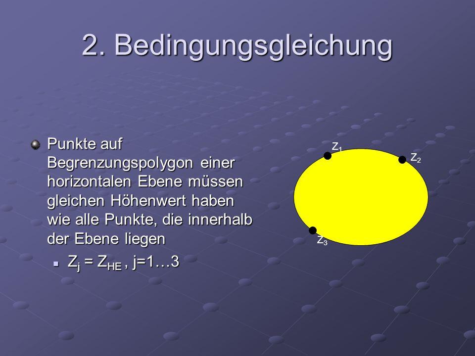 2. Bedingungsgleichung Punkte auf Begrenzungspolygon einer horizontalen Ebene müssen gleichen Höhenwert haben wie alle Punkte, die innerhalb der Ebene