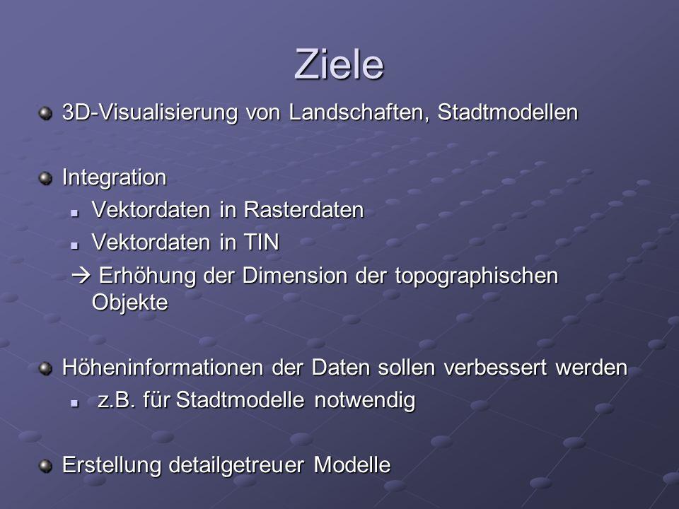 Ziele 3D-Visualisierung von Landschaften, Stadtmodellen Integration Vektordaten in Rasterdaten Vektordaten in Rasterdaten Vektordaten in TIN Vektordat
