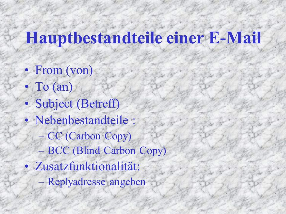 E – Mail Basics Namensteil: na2662 (Gross-/Kleinschreibung beliebig) @(gesprochen : at) Domainteil: (immer klein geschrieben !) –Subdomain: fen-net –Toplevel Domain:.de na2662@fen-net.de Richtung wie die Adresse aufgelöst wird !
