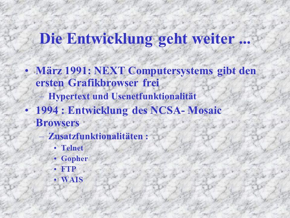 Entstehung des Internets 1969 :Gründung der ARPA (Advanced Research Projects Agency) 70 er Jahre : Universitäten, Forschungseinrichtungen, weitere Militäreinrichtungen werden eingebunden 1983 : Teilung des Netzes in 2 separate Netze –Milnet –Internet 1986 : Anschaffung neuer Hochleistungsrechner durch die NSF (National Science Foundation) als Backbone –> das Netz beginnt zu wachsen Ende 1990: CERN entwickelt den ersten Browser der aber noch nicht mit Grafiken arbeiten konnte