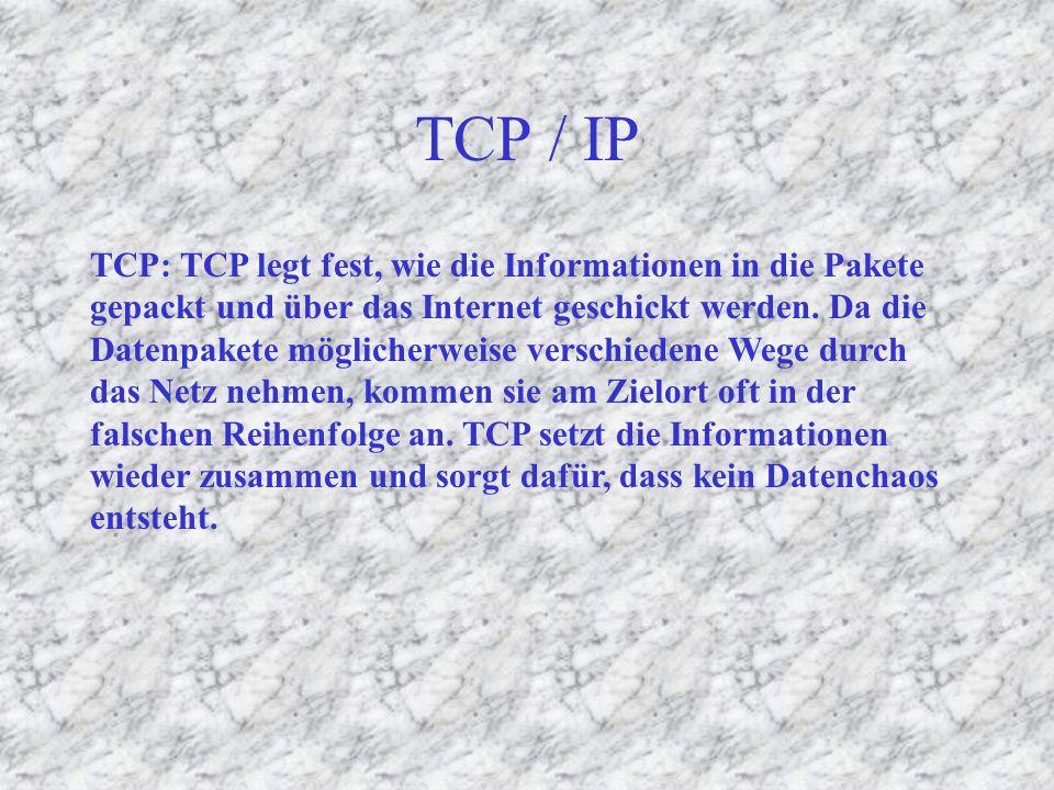 Zuordnung der Daten im Netz TCP / IP IP : Router benutzen das Internet Protocol, um Informationen durch das Internet zu transportieren.