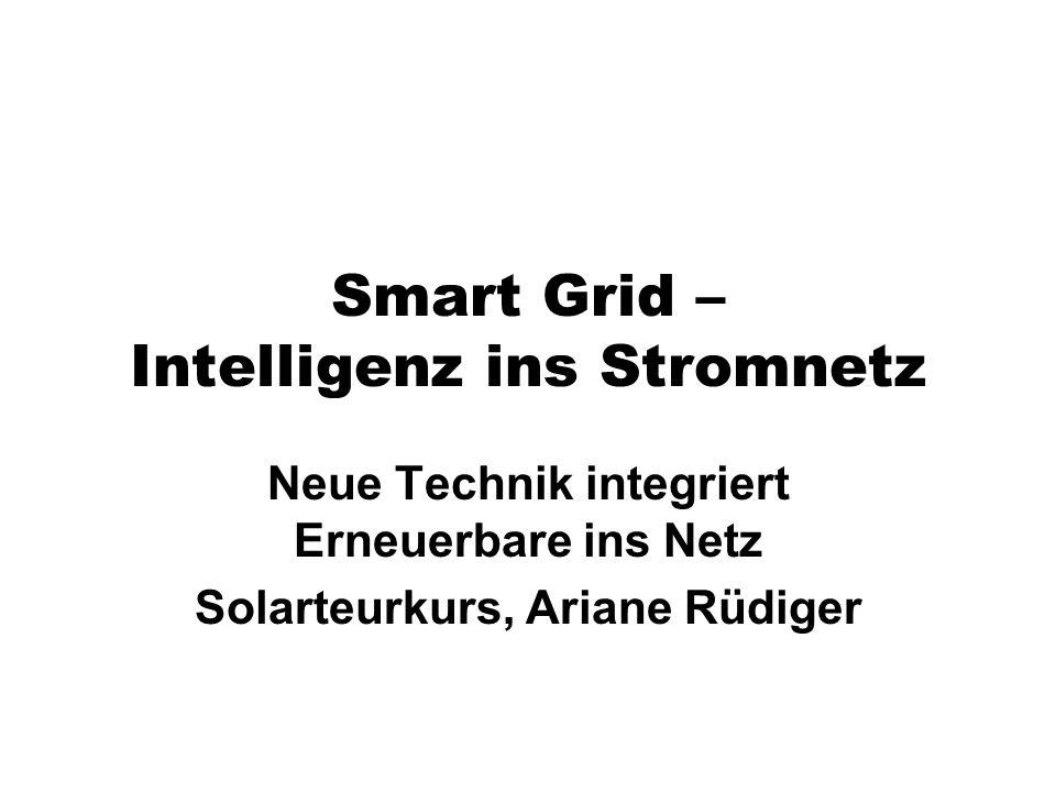 Smart Grid – Intelligenz ins Stromnetz Neue Technik integriert Erneuerbare ins Netz Solarteurkurs, Ariane Rüdiger